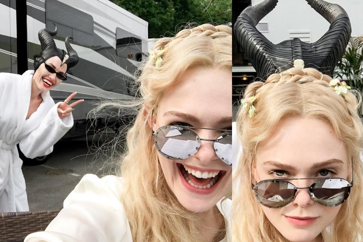 In Pics Angelina Jolie And Elle Fanning Goof Up On The Sets